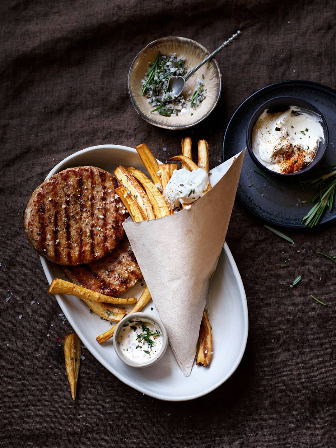 Iberico Burgers and parsnips fries with rosemary salt