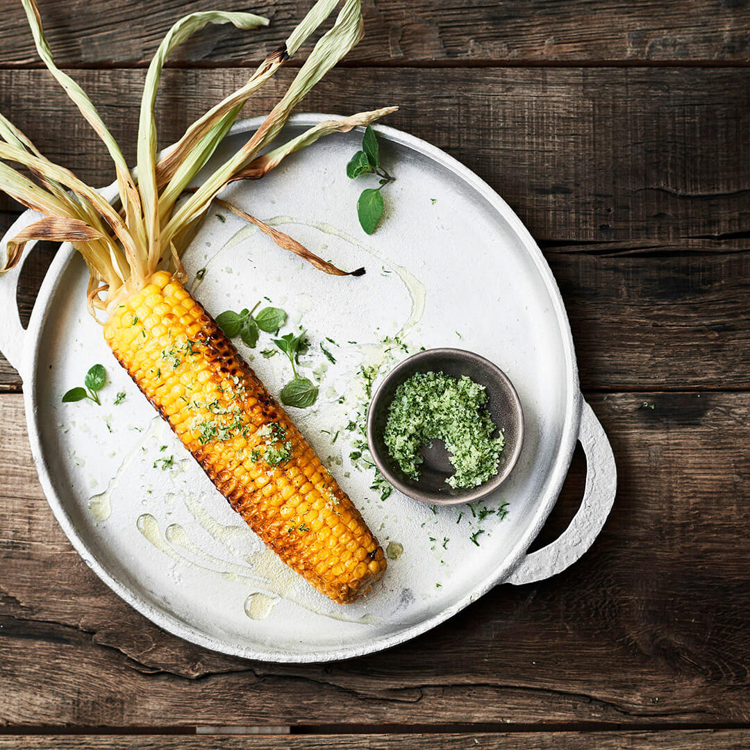BBQ corn with Mediterranean herb salt
