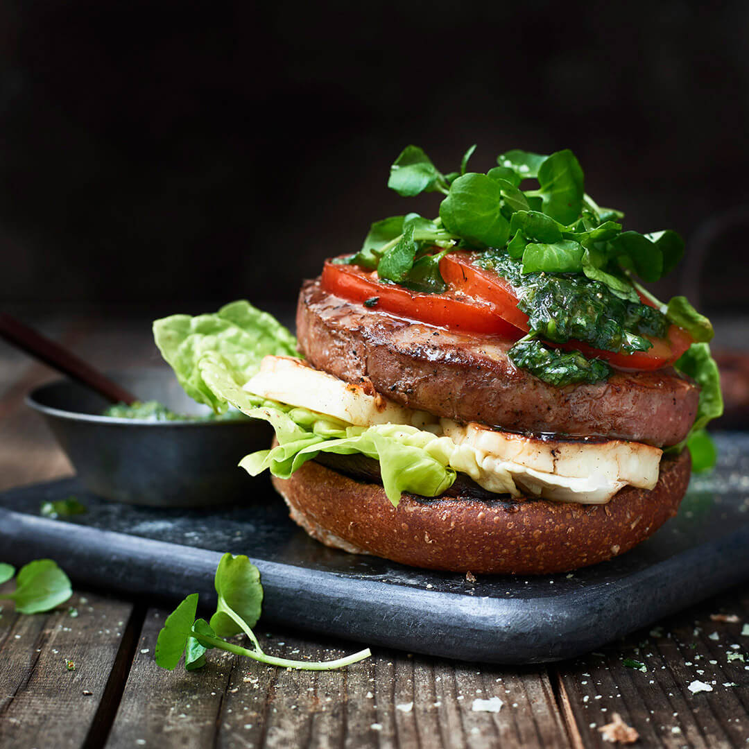 Lamb Burger with halloumi and watercress-pesto